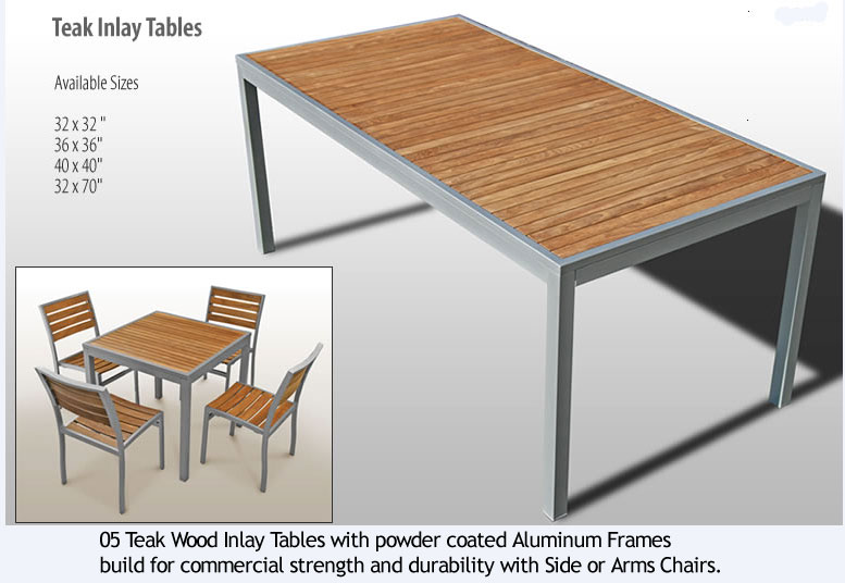 Cafe Aluminum And Teak Outdoor Chairs And Tabletops